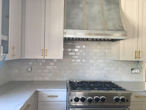 Custom Made #98 Light Zinc Range Hood With Stainless Steel Straps