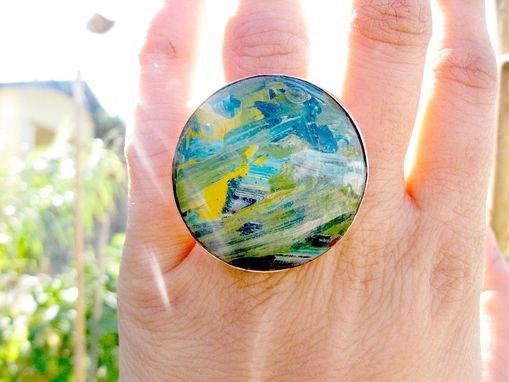 Custom Made Handmade Cabochon Ring - Sterling Ring - Resin Ring - Ring Size 5