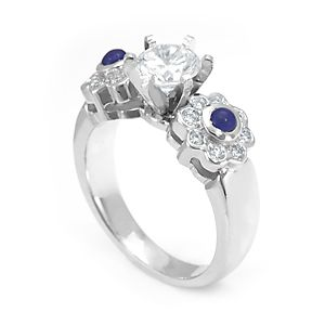 Custom Made Blue Sapphire And Diamond Engagement Ring In 14k White Gold, Ladies Ring, July Birthstone Ring