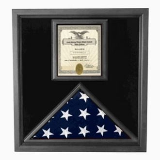 Custom Made Flag And Certificate Case - Black Frame, American Made