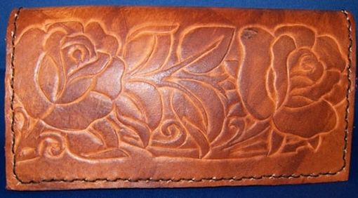 Custom Made Custom Leather Checkbook Cover With Rose Design And In Weathered Color