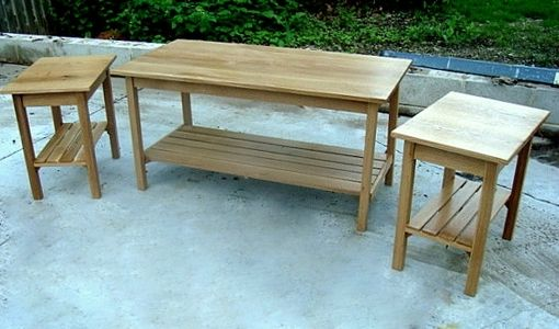 Custom Made Coffee Table With 2 Side Tables.