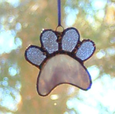 Custom Made Stained Glass Paw Print Suncatcher - Perwinkle