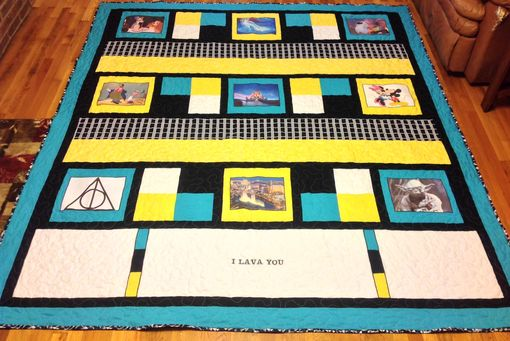 Custom Made Custom Disney Classic Movie Film Strip Themed Quilt With Applique And Embroidery Work
