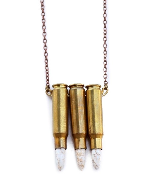 Hand crafted triple bullet necklace on copper chain with howlite custom made triple bullet necklace on copper chain with howlite stones mozeypictures Gallery
