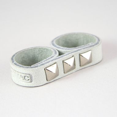 Custom Made Leather Ring White With Spikes, A Minimalist & Eco-Friendly Finger Accessory