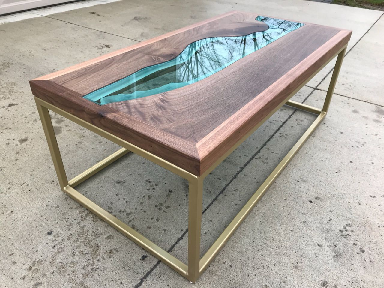 Hand Crafted Walnut River Glass Coffee Table by Villella ...