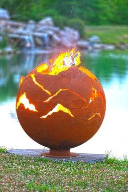 Custom Made Alpenglow Mountain Sunset Fire Bowl - 37 Inches