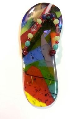 Custom Made Multi-Colored Fused Glass Flip-Flop Suncatcher
