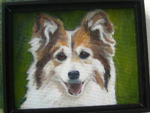 Custom Made Custom Dog Pet Portrait Of Shinfu, A Corgi-Sheltie