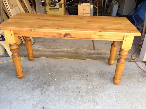 Custom Made Farm Style Desk With Drawer And Hand Turned Legs