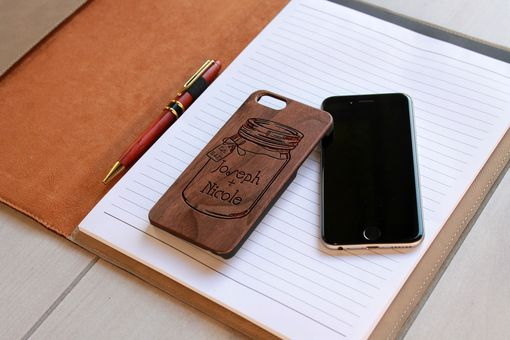 Custom Made Custom Engraved Wooden Iphone 6 Case --Ip6-Wal-Joseph + Nicole Mason Jar