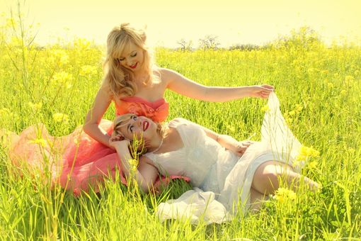Custom Made Pinup Girls In A Mustard Field Photography Print 8x10