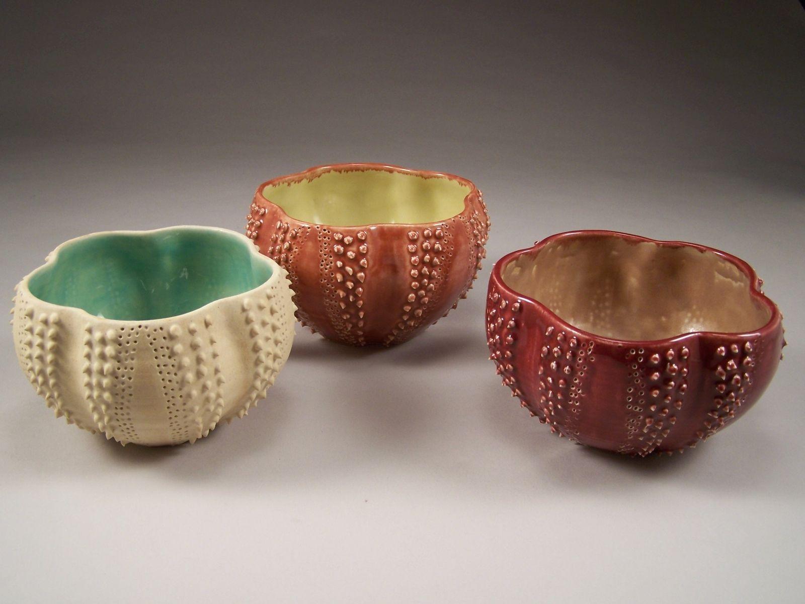 Custom Sea Urchin Serving Bowls By Sandra Lance Pottery
