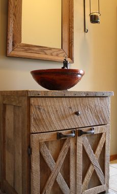 Custom Made Reclaimed Barnwood Vanity Or Cabinet With A Two Doors