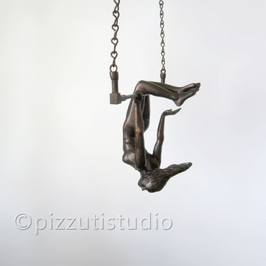 Custom Made Small Bronzed Figurative Hanging Sculpture