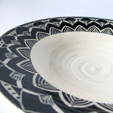 Custom Made Handmade Stoneware Bowl With Flower Petal Pattern