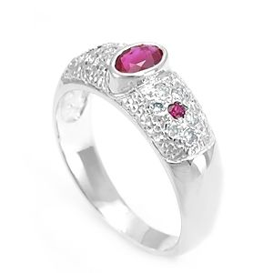 Custom Made Ruby Diamond Ring In 14k White Gold, Ladies Ring, July Birthstone Ring