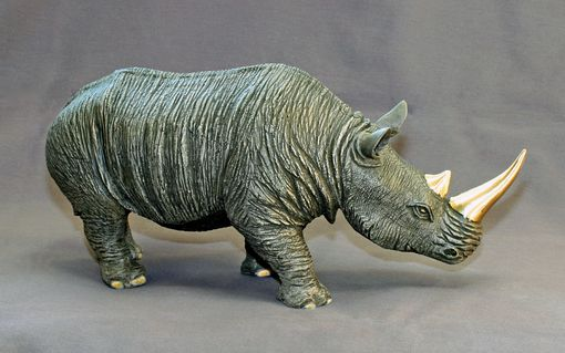 "Custom Made Bronze Rhinoceros ""White Rhinoceros"" Rhino Figurine Statue Sculpture Limited Edition Signed Numbered"
