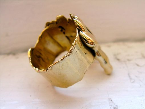 Custom Made Gold Bronze Drip Cocktail Ring - Smaller