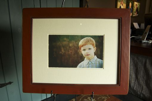 Custom Made Pine Picture Frame, Painted Barn Red And Distressed