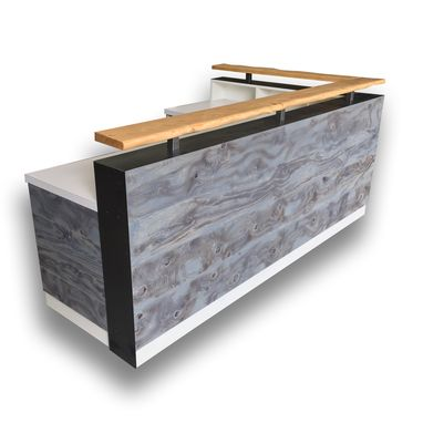 Custom Made #95 Distressed Wood Reception Desk Hand Made By Expert Artisans