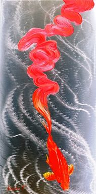 Custom Made Koi Fish On Metal 3d Painting, Oil Painting On Stainless Steel