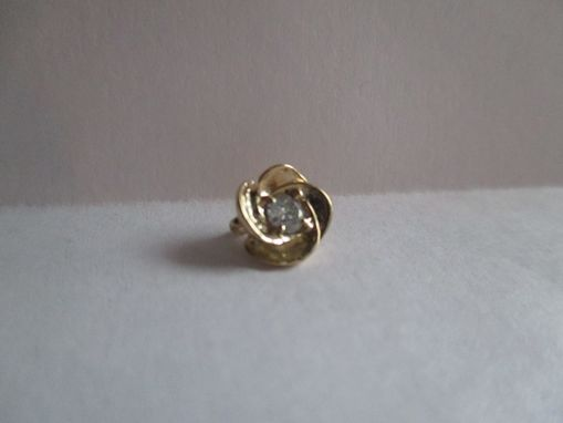 Custom Made Flower Pendant With A .10 Ct. Genuine, Natural White Eye Clean Diamond