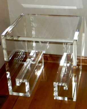 Custom Made Acrylic End / Side Table Wth Greek Key Base - Hand Crafted, Custom Built