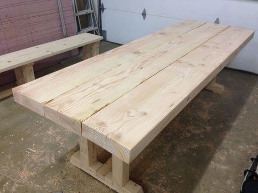 Custom Made Rustic Table And Bench