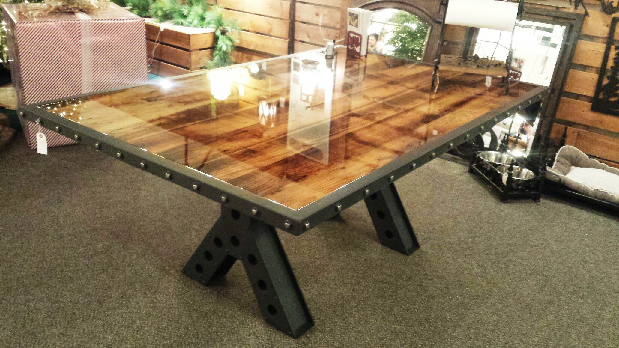 Picture of: Buy Handmade Modern Industrial Rustic 6 Foot Dining Table Conference Table Made Of Metal And Reclaimed Wood Made To Order From Lazy K Metalworks Custommade Com