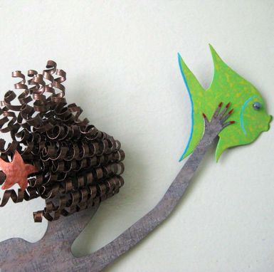 Custom Made Mermaid Wall Art Sculpture Ocean Decor - Flora - Upcycled Handmade Metal Wall Sculpture Bath