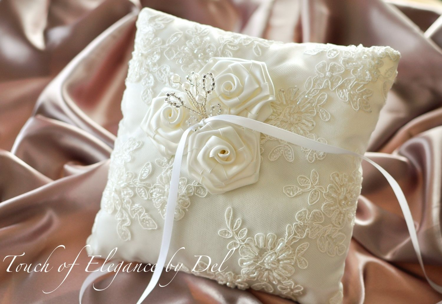 Custom Made Ivory Ring Bearer Pillow Wedding Silk With French Alencon Lace