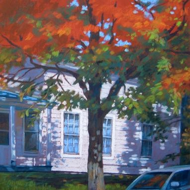 Custom Made Pastel House Portrait Painting, 18 X 18 Inches