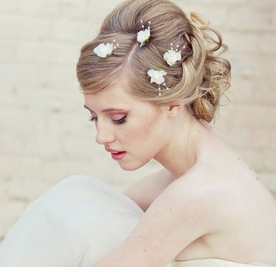Custom Made Wedding Hair Bobby Pin Set Of Four Flowers And Pearls, Wedding Hair Accessory