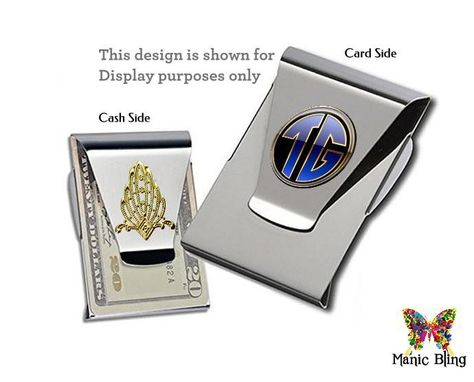 Custom Made Custom Photo Money Clip Card Holder - Glass And Stainless Steel