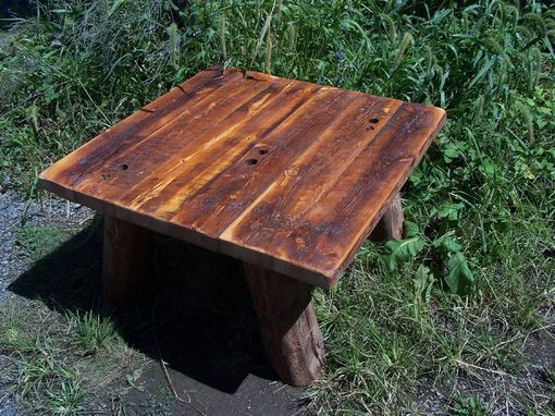 Custom Made Heart Pine Rustic Coffee Table With Hand Hewn Legs