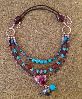 Custom Made Handmade Copper And Turquoise Heart Necklace
