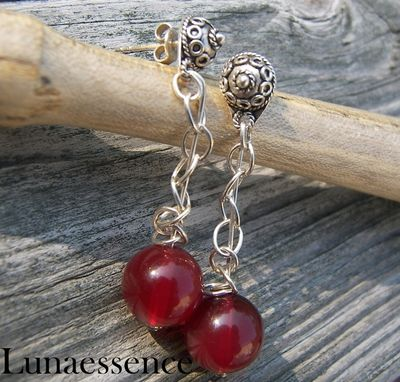 Custom Made Red Agate Sterling Silver Chain Earrings