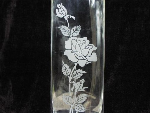 Custom Made Etched Flower Vase