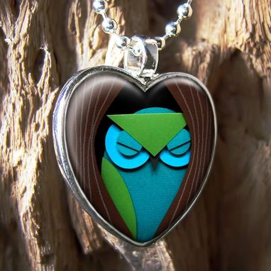 Custom Made Sleeping Owl & Tree Sterling Silver Heart Necklace 240-Shn