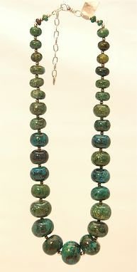 Custom Made Chrysocolla Graduated Necklace And Earrings