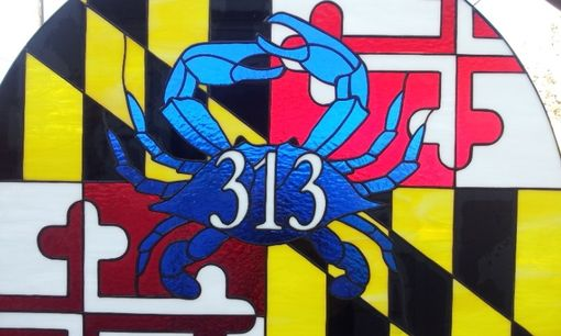 "Custom Made Stained Glass Transom With House Number -  ""Maryland Symbols"" (Tw-31)"