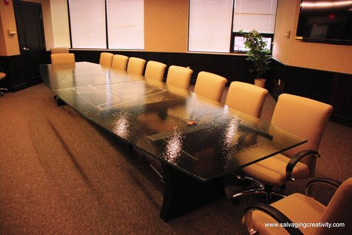 Hand Crafted Reclaimed Timber Steel And Custom Glass Conference - Custom glass conference table