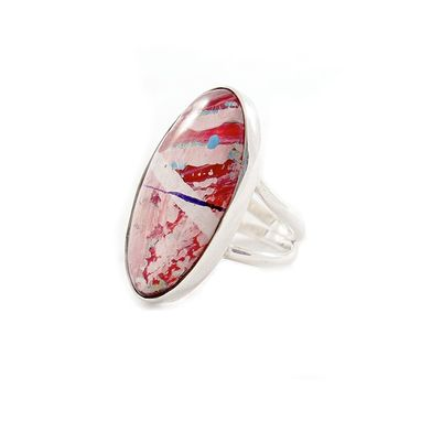 Custom Made Pretty In Pink Ring - Oval Ring - Pink Oval Ring  -Double Shank Ring - Cute Ring - Sterling