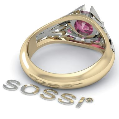Custom Made Unique Legend Of Zelda Zoras 10k Engagement Ruby 1.02 Ct White & Yellow Gold Ring