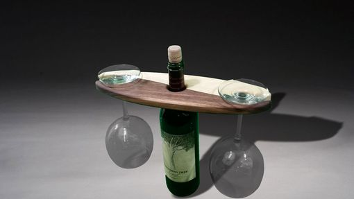 Custom Made Wine Bottle And Glass Display Rack Yin Yang