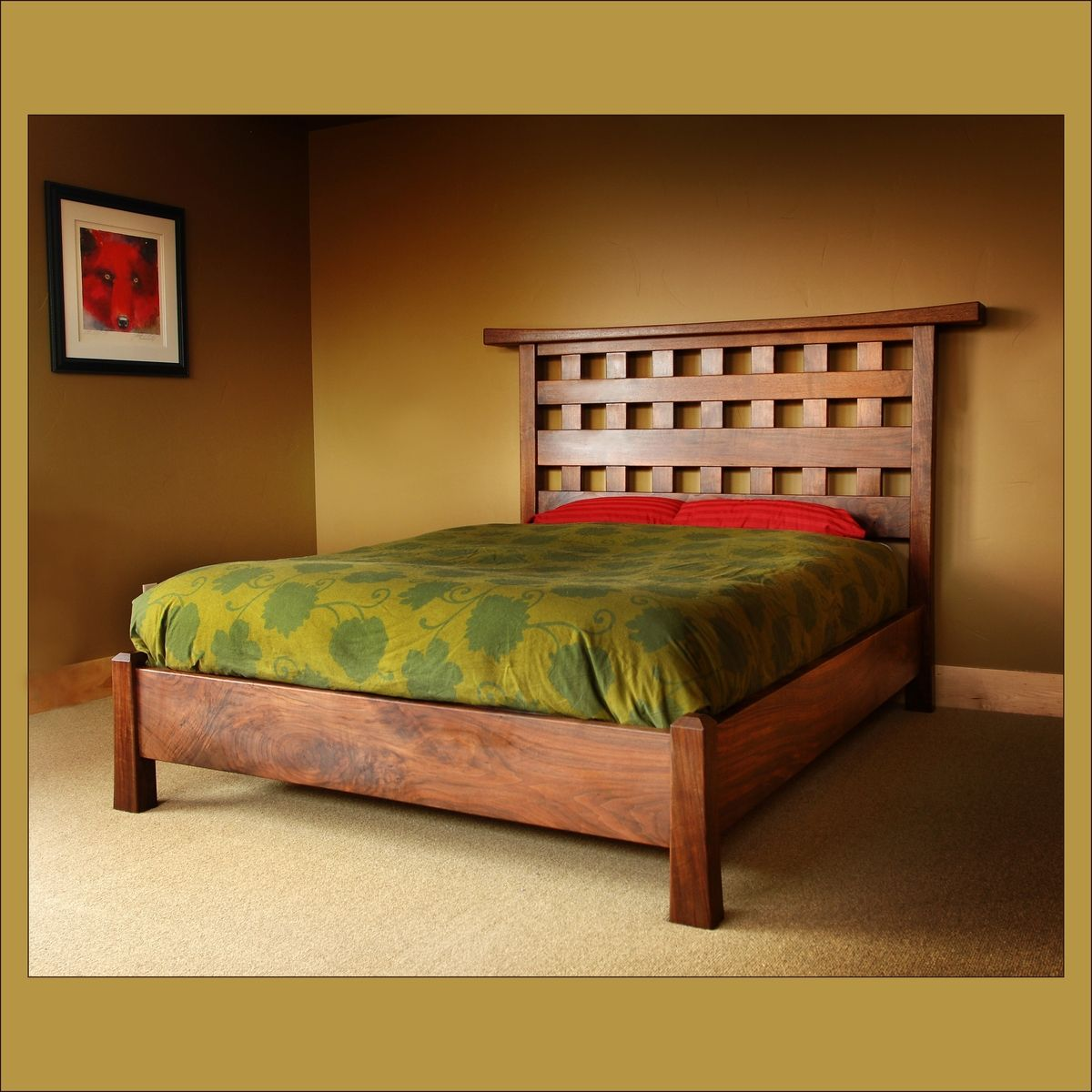 Buy a Hand Crafted Japanese Garden Queensize Bed, made to order