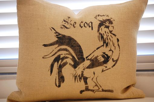Custom Made Country French Hand Stenciled Rooster Pillow With Down Insert