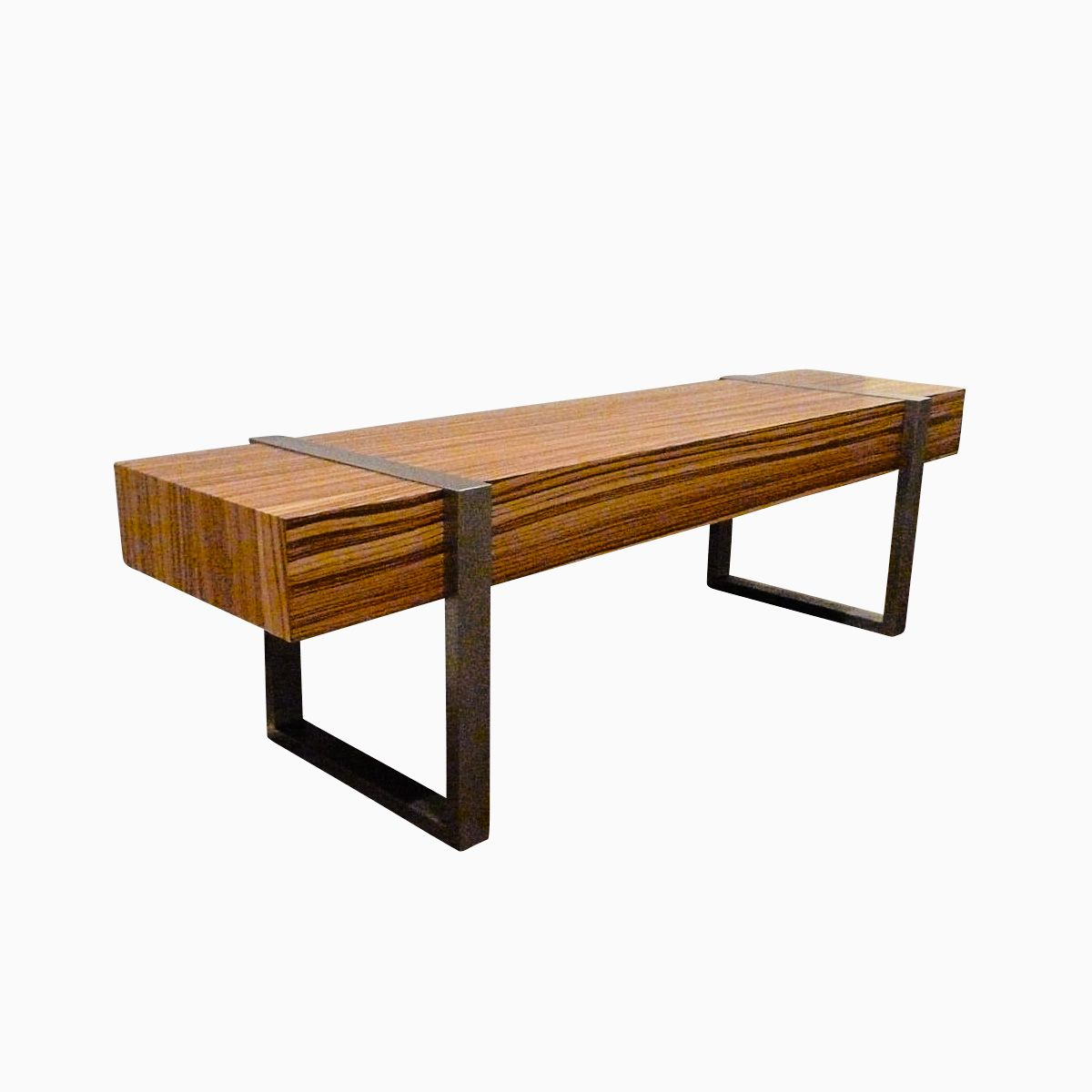 Hand made welded modern interior zebra wood bench seat by